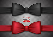 Black and red bow tie, realistic vector illustration, isolated on transparent background. Elegant silk neck bow. Vip event accessory.