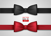 Black and red bow tie, realistic vector illustration, isolated on white background. Elegant silk neck bow. Vip event accessory.