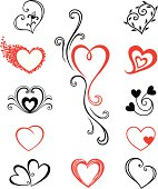 Black and red cartoon designs of hearts