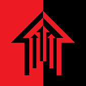Vector illustration of a red and black direction arrow.