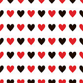 Black and red hearts pattern