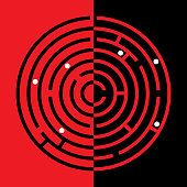 Vector illustration of a black abd red maze icon.
