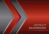 Vector metallic banner.Black and red metal background.Abstract technology background