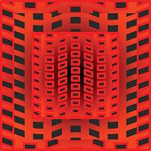 Black and red optical art tile with rectangle patterns, 3d optical illusion,