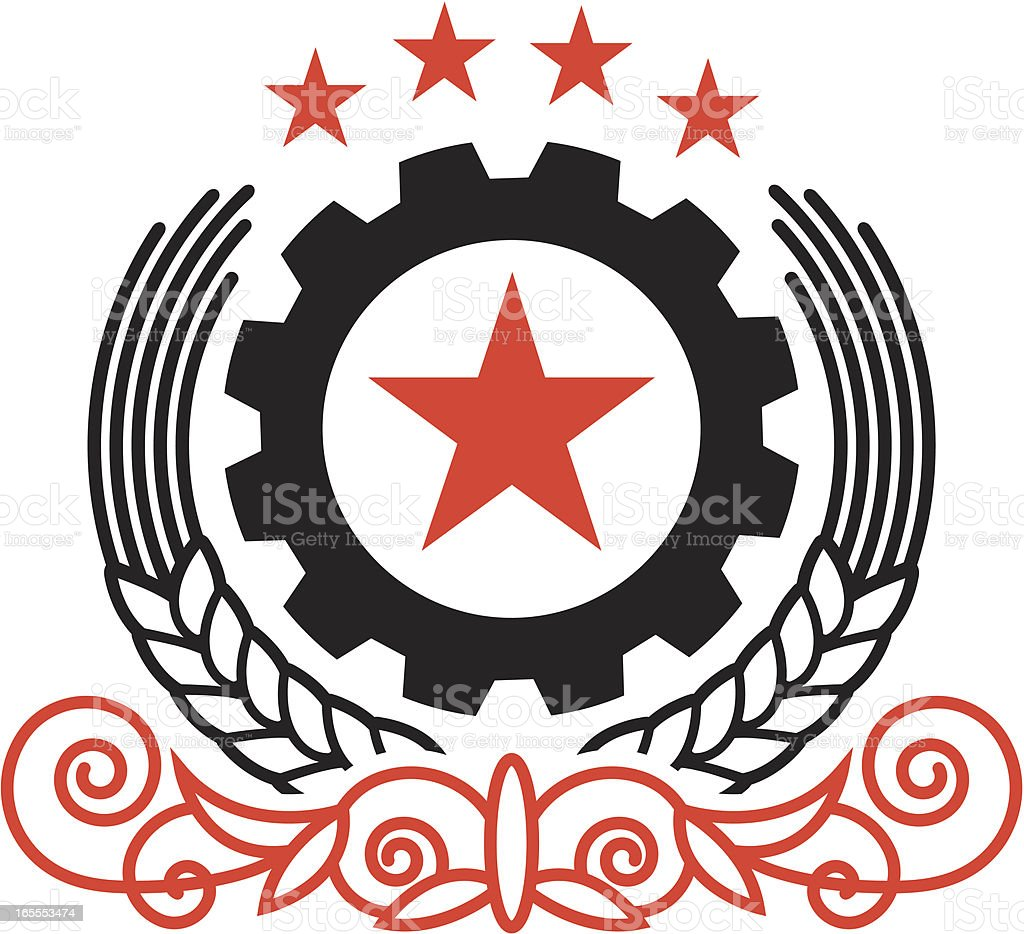 Black and red propaganda style design royalty-free stock vector art