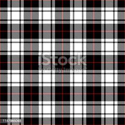 Black, white and red Scottish tartan plaid seamless textile pattern background.