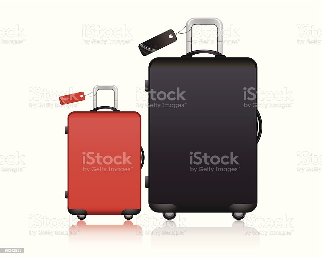 black and red suitcase vector art illustration