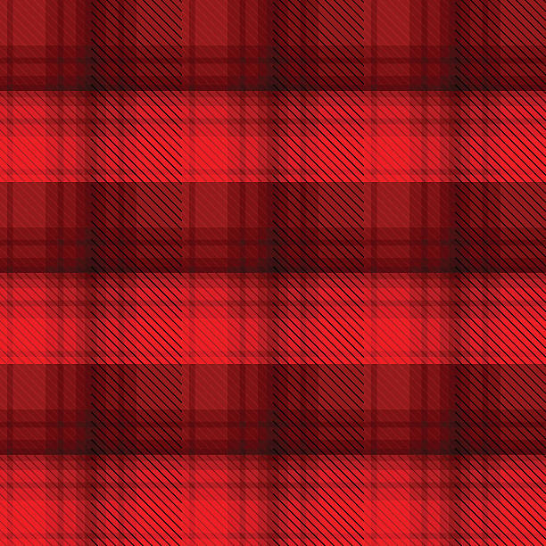 black and red tartan plaid background - flannel backgrounds stock illustrations, clip art, cartoons, & icons