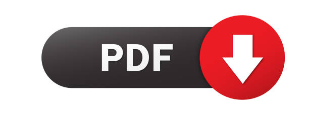 PDF black and red vector web button PDF black and red vector web button with down arrow downloading stock illustrations