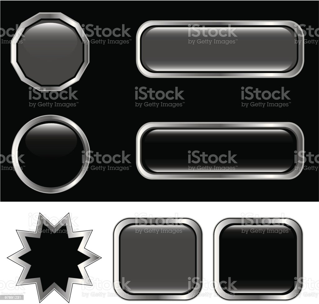 Black and silver buttons royalty-free black and silver buttons stock vector art & more images of black background