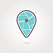 black and turquoise pin icon with shadow