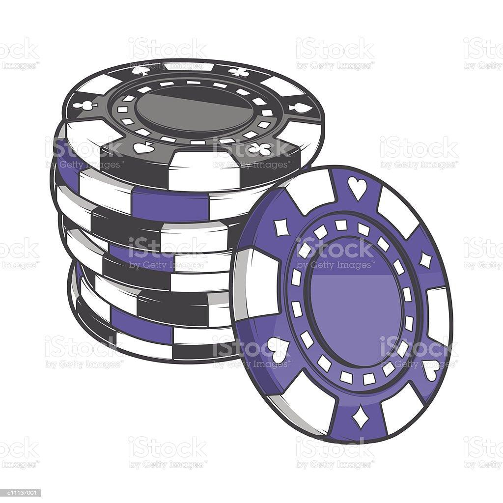 Black and Violet Stacks of Gambling Chips vector art illustration