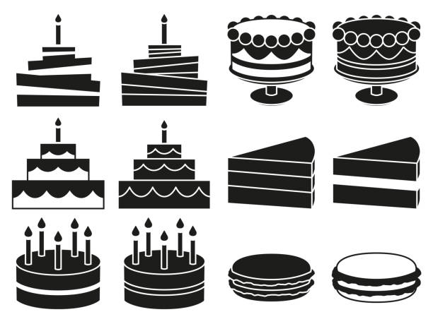 Black and white 12 desserts silhouette set Black and white 12 desserts silhouette set. Sweet food vector illustration for icon, sticker sign, patch, certificate badge, gift card, stamp logo, label, poster, web banner, flayer invitation cake silhouettes stock illustrations