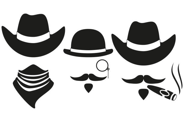 Black and white 3 cowboy silhouette avatars Black and white 3 western cowboy silhouette avatars set. Wild west vector illustration for gift card certificate sticker, badge, sign, stamp, icon, label, icon, poster, patch, banner invitation bandit stock illustrations