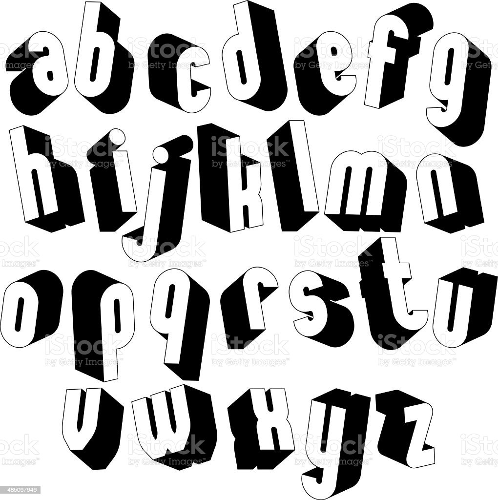 Black And White 3d Font Simple Bold Letters Royalty Free