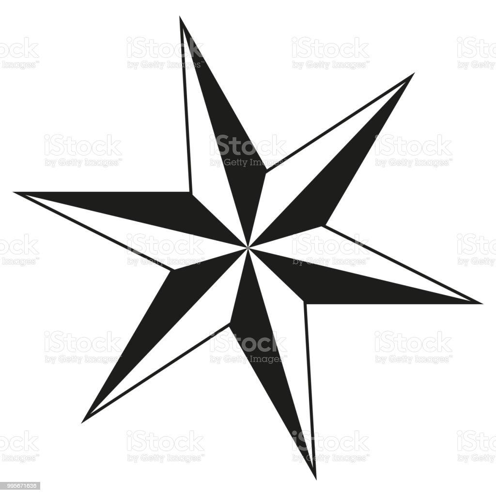Schwarz Weiß 6punkt Stern Silhouette Stock Vektor Art und mehr ...