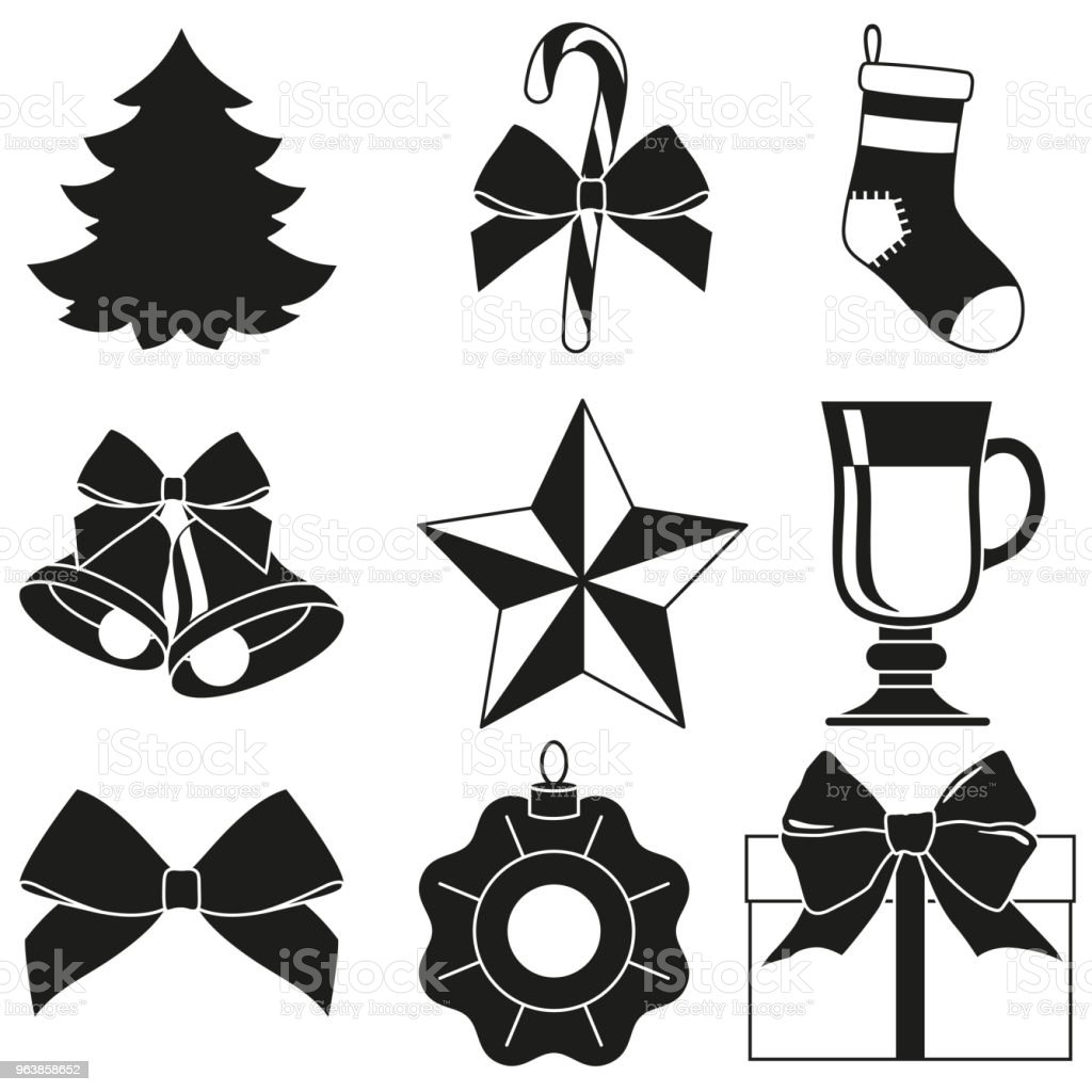 black and white 9 new year elements silhouette set royalty free black and white 9