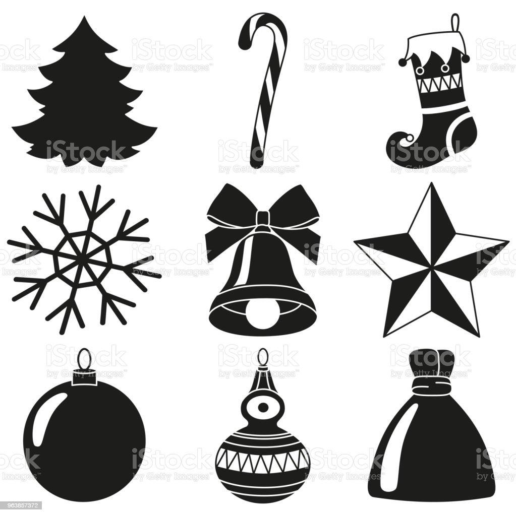 Extremement Noir Et Blanc Noël 9 Éléments Silhouette Ensemble Vecteurs libres FT-58