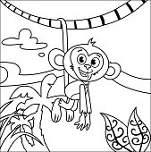 Black and white a monkey.