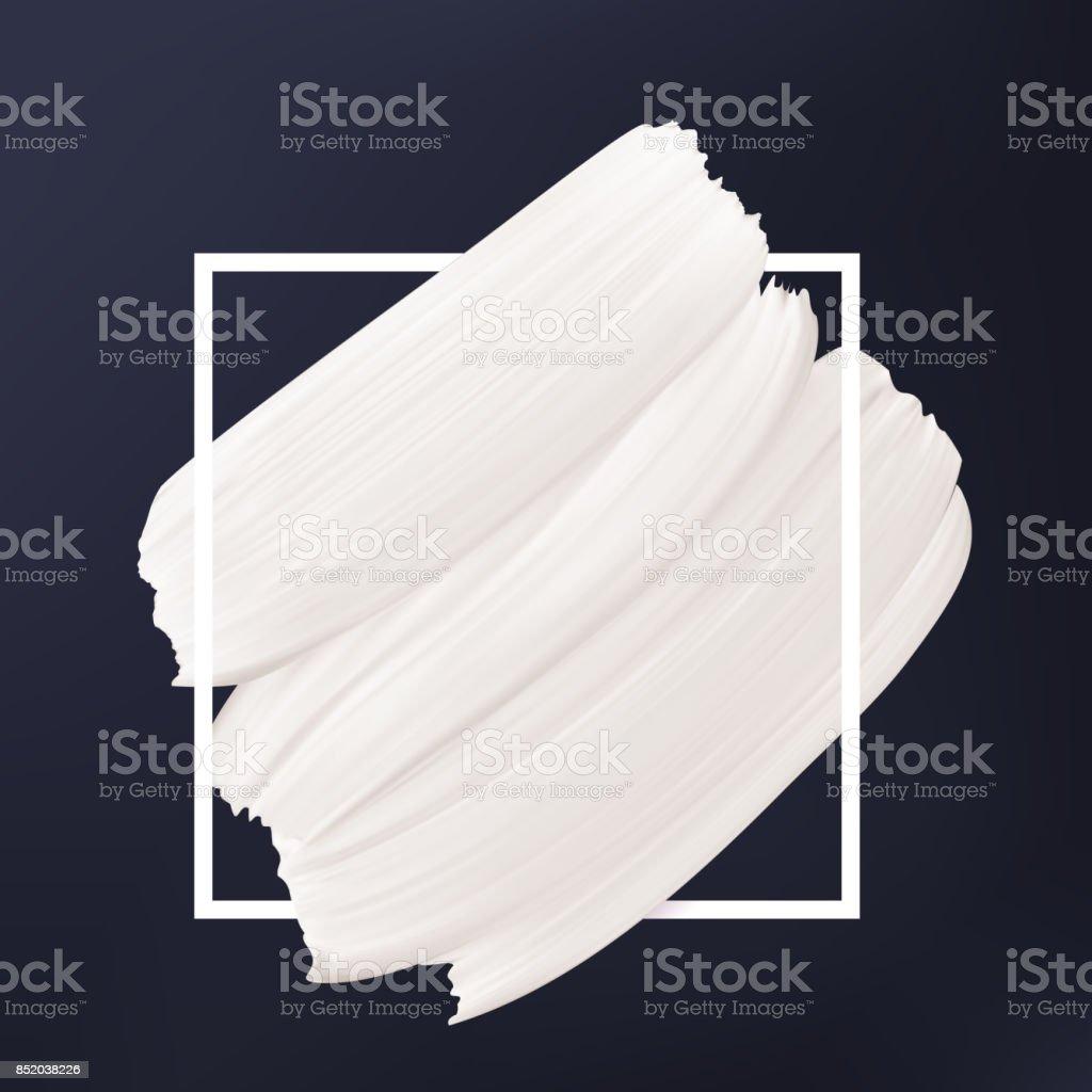 Zwart-wit abstracte achtergrond. Witte vector uitstrijkje in frame. Vloeibare textuur Logo sjabloon. - Royalty-free Abstract vectorkunst
