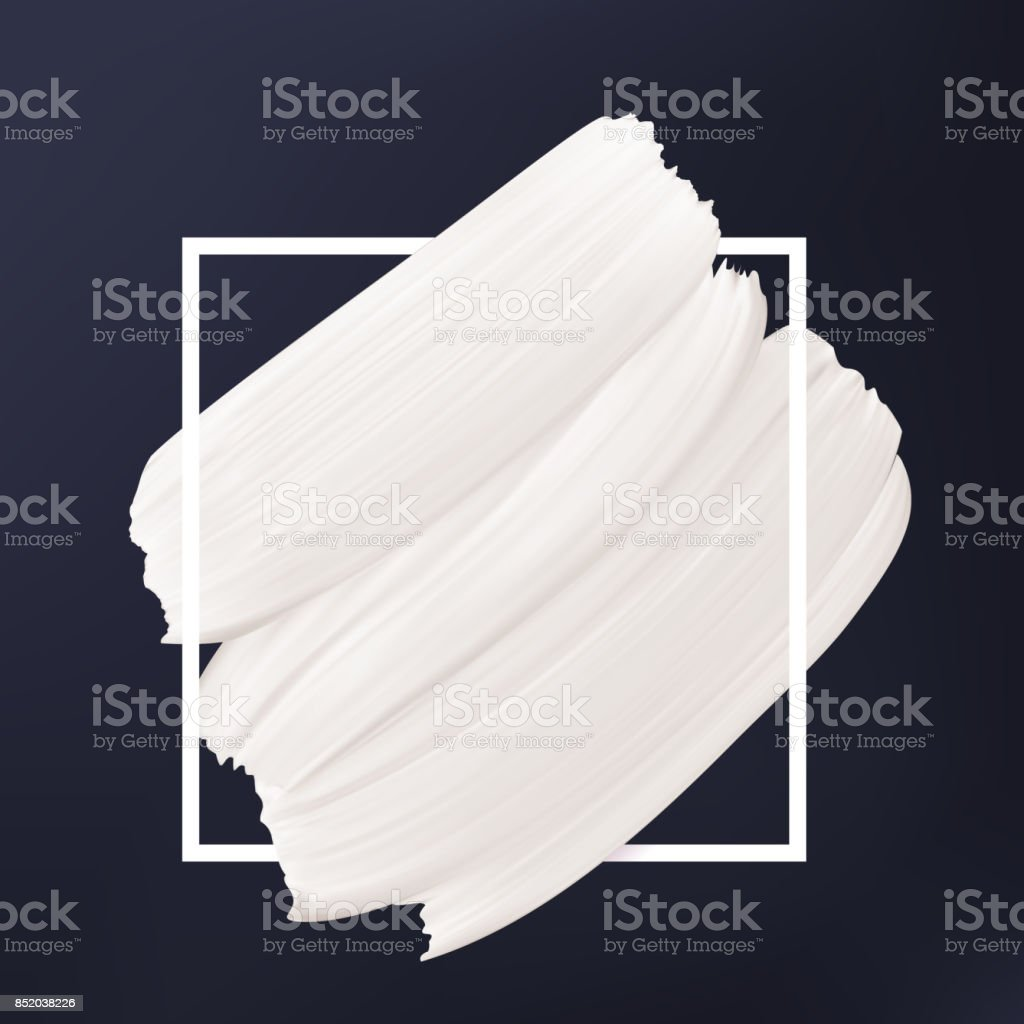 Black and white abstract background. White vector smear in frame. Liquid texture Logo template. - illustrazione arte vettoriale