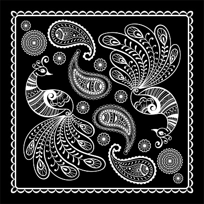 Black and white abstract bandana print with  element henna style. Square pattern design for pillow, carpet, rug.