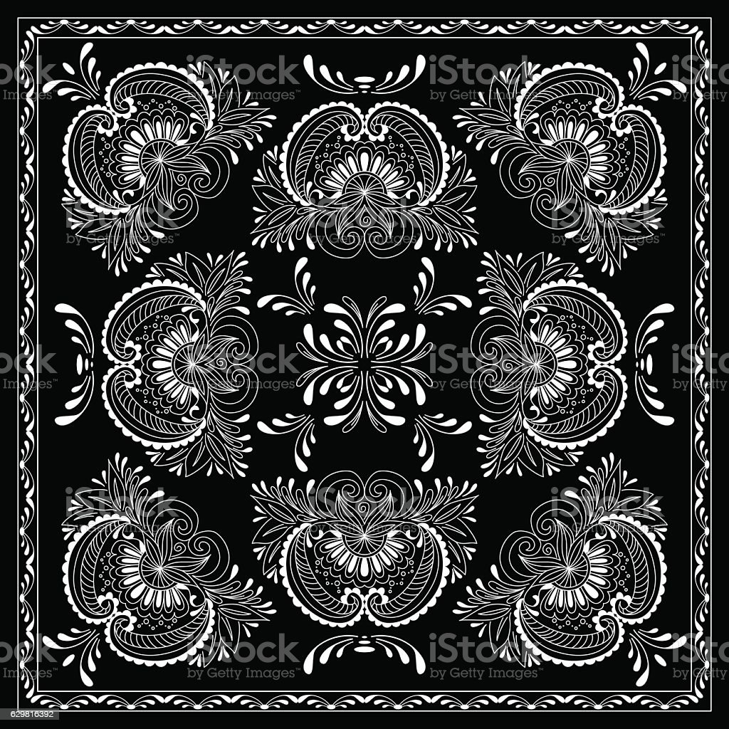 Black and white abstract bandana print with  element henna style vector art illustration