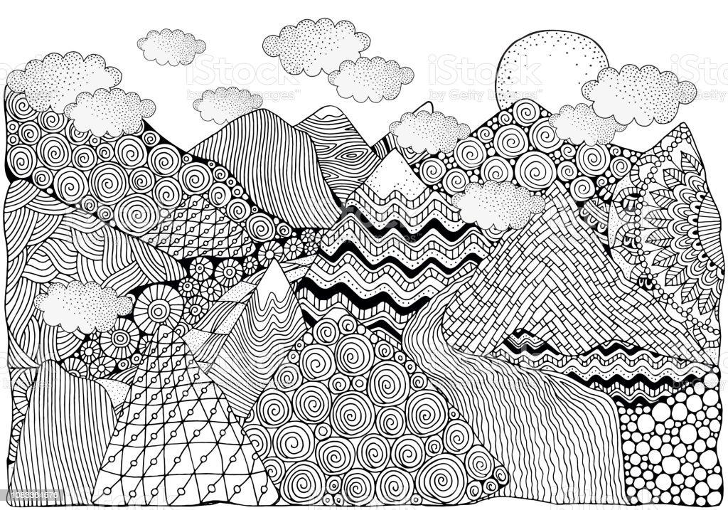 Siyah Ve Beyaz Soyut Fantezi Resim Daglar Gunes Ve Nehir Doodle