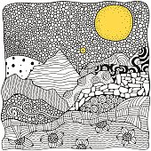 Black and white abstract fantasy picture. Moonlight, mountains. Eco theme. Pattern for coloring book. Hand-drawn, ethnic, retro, doodle, vector tribal design element.  Zen art.
