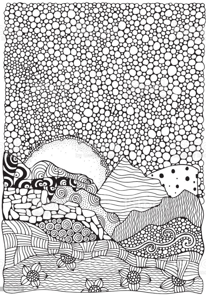 Black and white abstract fantasy picture. Sunrise, mountains. Eco theme. Pattern for coloring book. vector art illustration