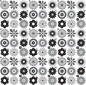 Black, white and grey abstract floral seamless repeat pattern.