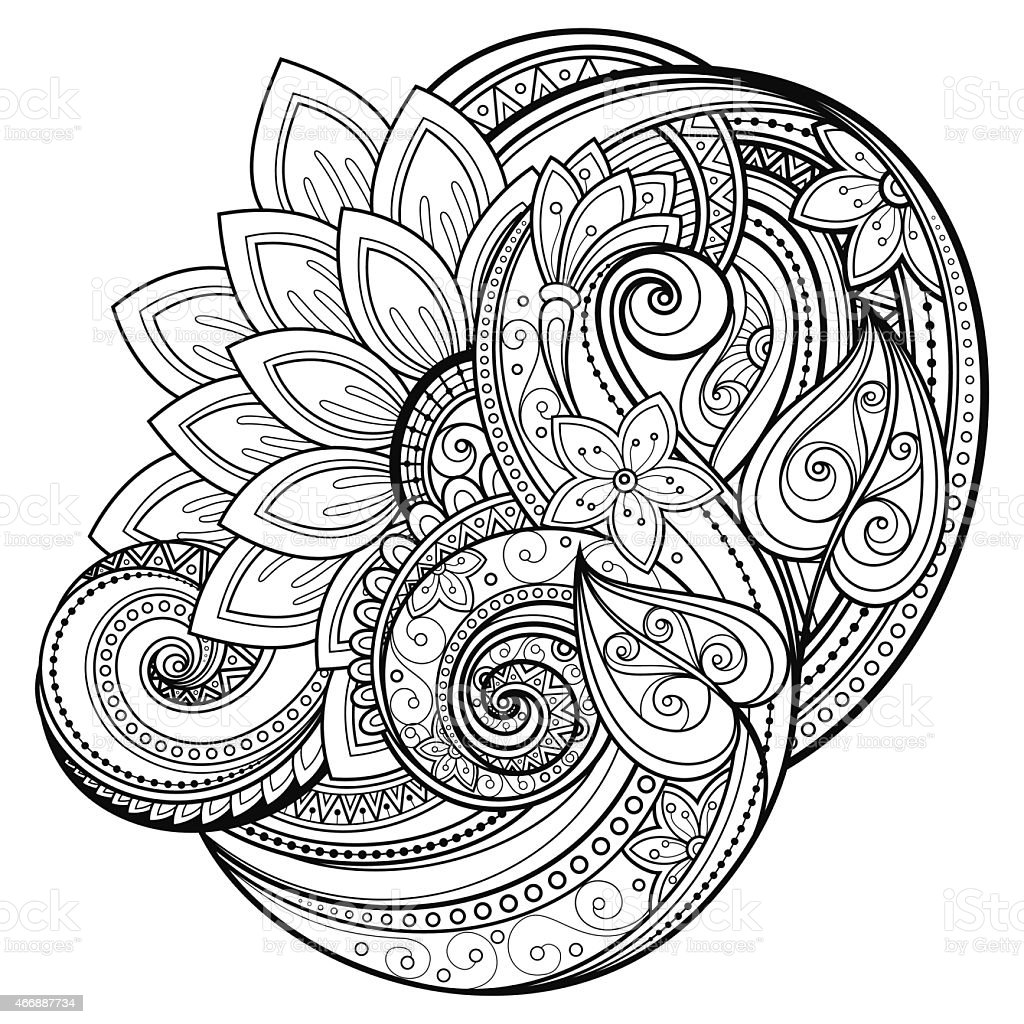 Black And White Abstract Flower Design Stock Vector Art More