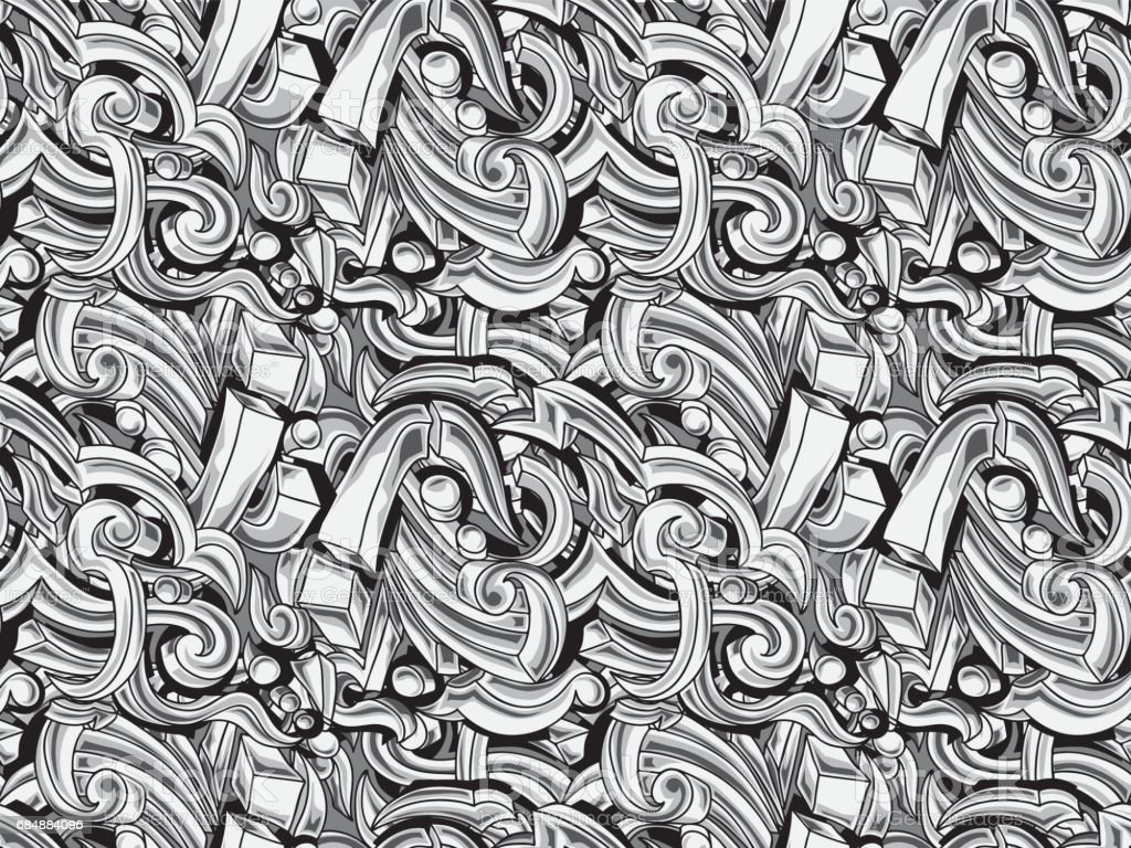 Black and white abstract graffiti curls seamless background vector art illustration