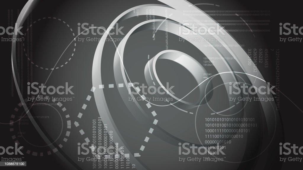 Noir et blanc Résumé des technologies de l énergie moderne des éléments  numériques du HUD 3030a08f9e95
