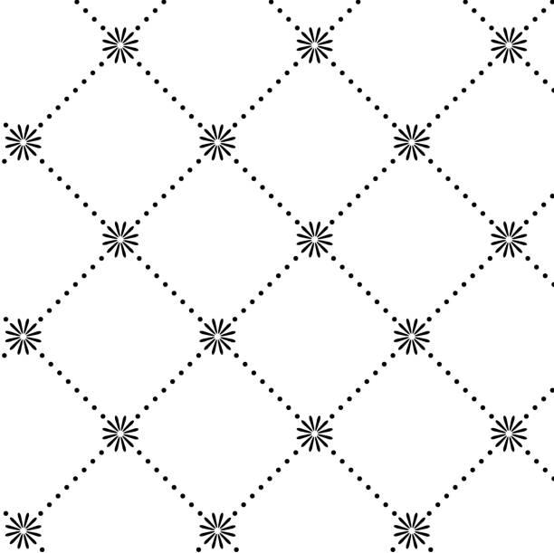 ilustrações de stock, clip art, desenhos animados e ícones de preto e branco de fundo abstrato padrão - mosaicos flores