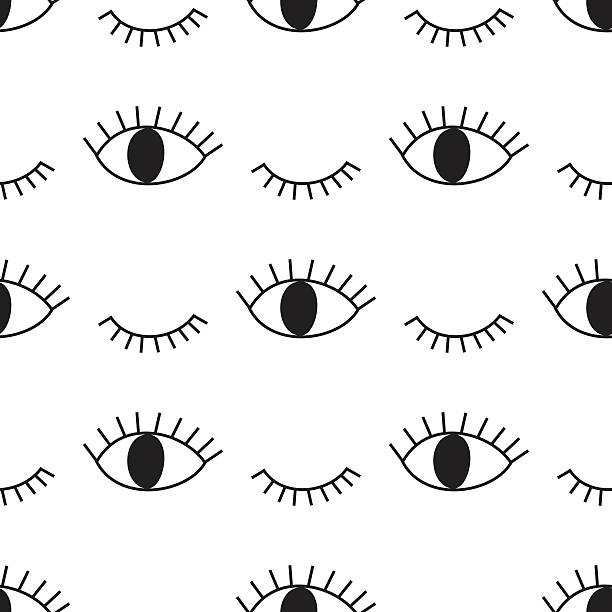 Black and white abstract pattern with open and winking eyes Black and white abstract pattern with open and winking eyes. Cute eye background illustration. blinking stock illustrations