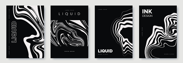 Black and white abstract poster design with liquid lines. White curves and wavy lines on dark black background. A4 size. Ideal for banner, flyer, invitation, cover, business card. Vector illustration