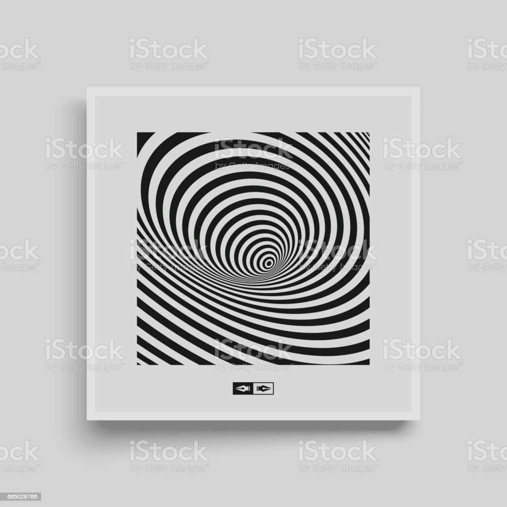 Black and white abstract striped background. Optical Art. Cover design template. vector art illustration