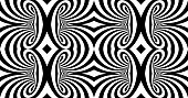 Black and white abstract striped background. Pattern with optical illusion. 3d surreal vector illustration.