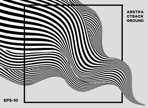 Black and white abstract wavy background eps 10 squiggle stock illustrations