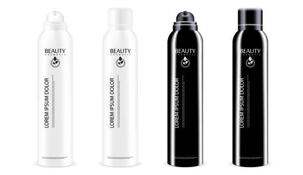 schwarz / weiß aerosol metall sprühflaschen set mit oder ohne deckel. deodorant antitranspirant oder kosmetische haarspray kann vorlage. vektorgrafik-paket isoliert auf weißem hintergrund. - haarsprays stock-grafiken, -clipart, -cartoons und -symbole