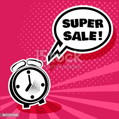 841438710 istock photo Black and white alarm clock with comic bubble with inscription SUPER SALE on pink background. Illustration in pop art style. Vector. 942201340