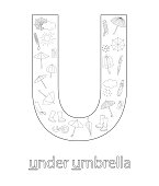 Black and white alphabet letter U. Phonics flashcard. Cute letter U for teaching reading with cartoon style umbrella, weather elements, rain drops, clouds. Coloring page for children.