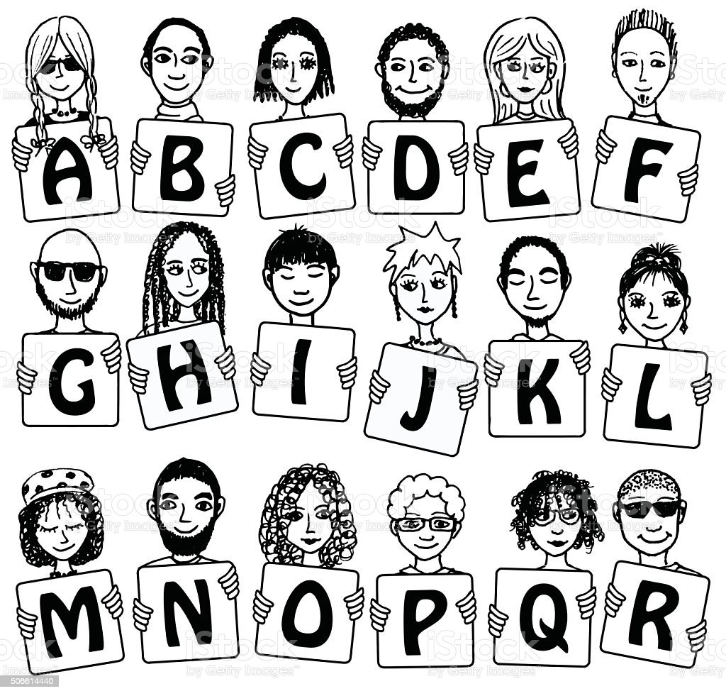 Black and white alphabet letters A - R royalty-free black and white alphabet letters a r stock vector art & more images of adult