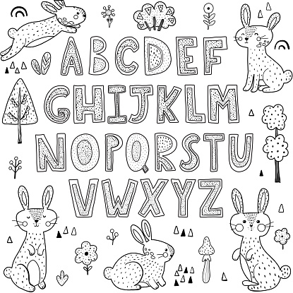 Black and white alphabet with cute rabbits