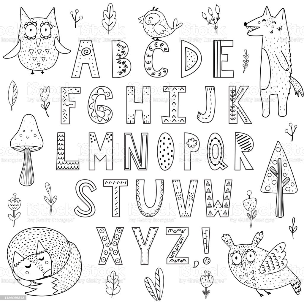 Black And White Alphabet With Forest Animals Great For Coloring Page Posters And Children Design Stock Illustration Download Image Now Istock