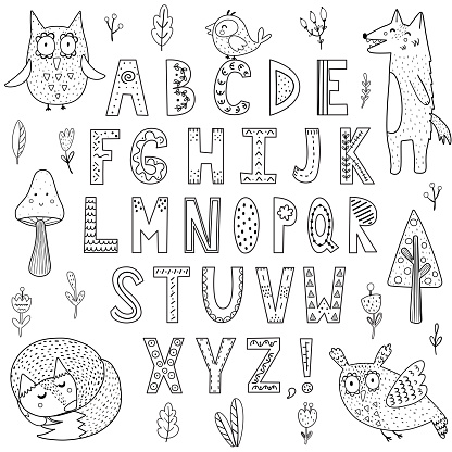 Black and white alphabet with forest animals. Great for coloring page, posters and children design