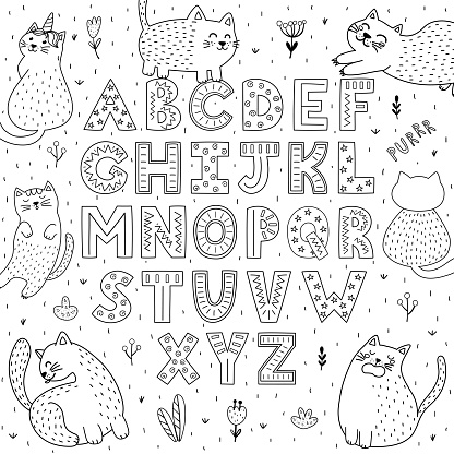 Black and white alphabet with funny cats. Abc coloring page
