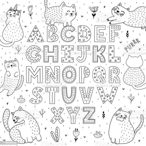 Black and white alphabet with funny cats abc coloring page vector id1156868288?b=1&k=6&m=1156868288&s=612x612&h=qjiwomsf4vjbpx015qkc  wilqoydbhycmkzype w38=