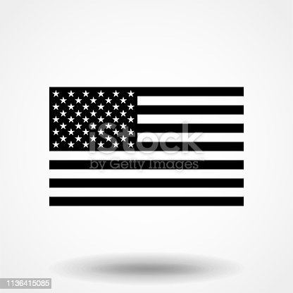 istock Black and white American flag. 1136415085